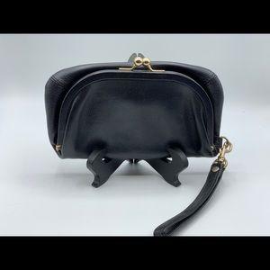 HOBO Soft Black Leather Fold-Over Wristlet Clutch